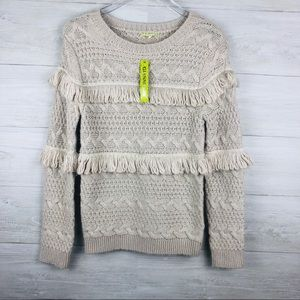 Gianni Bini Cable Chunky Knit Sweater with Fringe